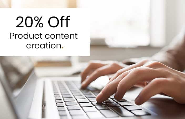20% Off Product Content Creation - eCommerce website design in Manchester